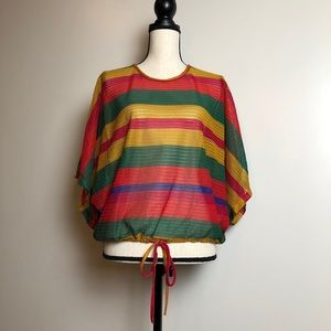 ZARA Striped Mesh Top in Medium NWOT
